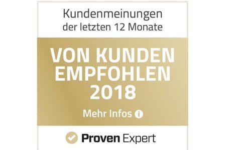 Vom Kunden empfohlen 2018